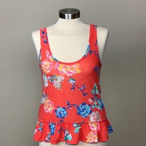 American Eagle Outfitters Floral Peplum Tank Top